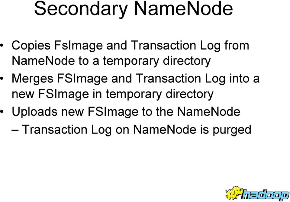 Transaction Log into a new FSImage in temporary directory