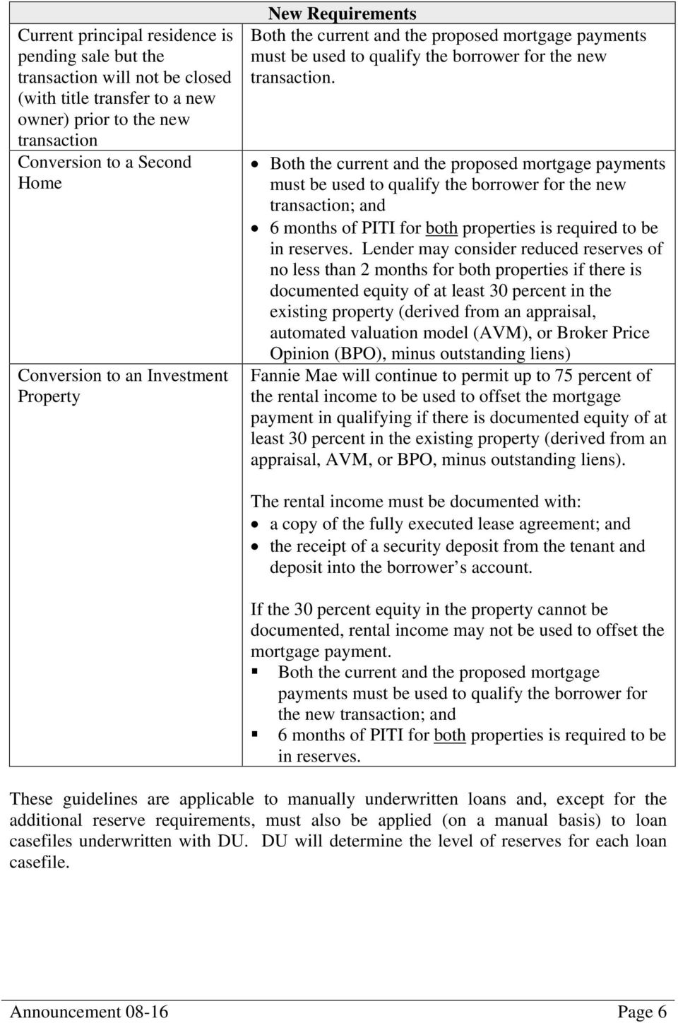 Both the current and the proposed mortgage payments must be used to qualify the borrower for the new transaction; and 6 months of PITI for both properties is required to be in reserves.