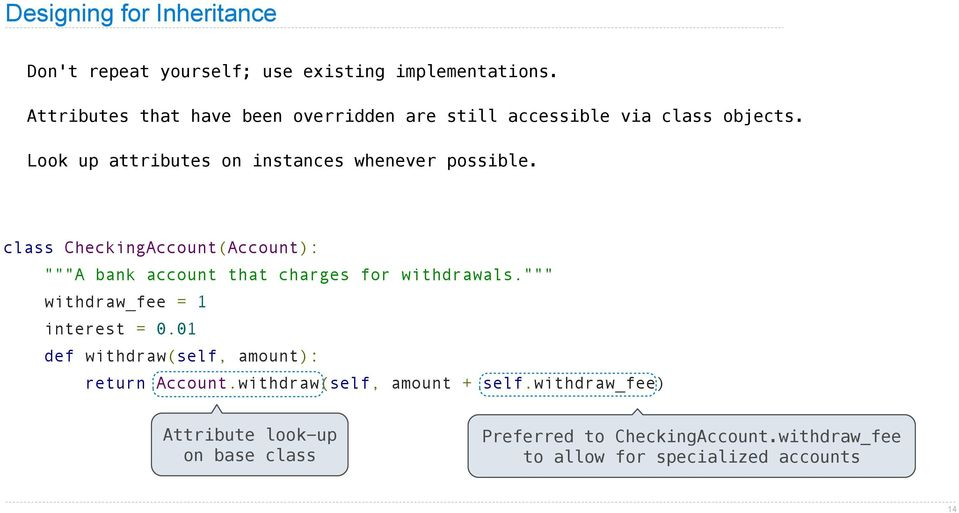 "class CheckingAccount(Account): """"""A bank account that charges for withdrawals."""""" withdraw_fee = 1 interest = 0."