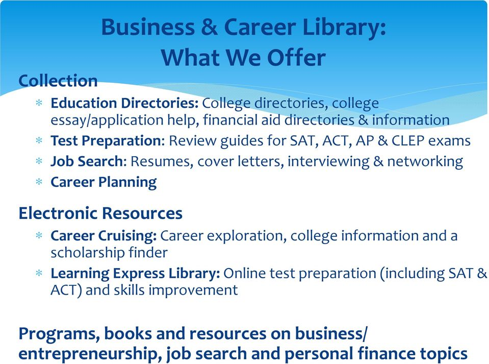 Career Planning Electronic Resources Career Cruising:Career exploration, college information and a scholarship finder Learning Express Library:Online
