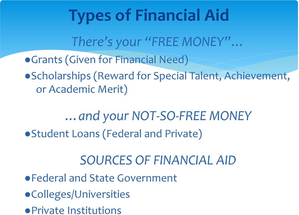 and your NOT-SO-FREE MONEY Student Loans (Federal and Private) SOURCES OF