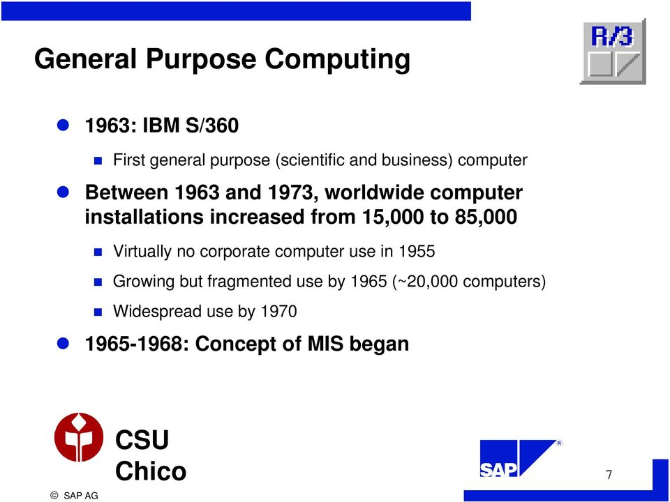 from 15,000 to 85,000 Virtually no corporate computer use in 1955 Growing but