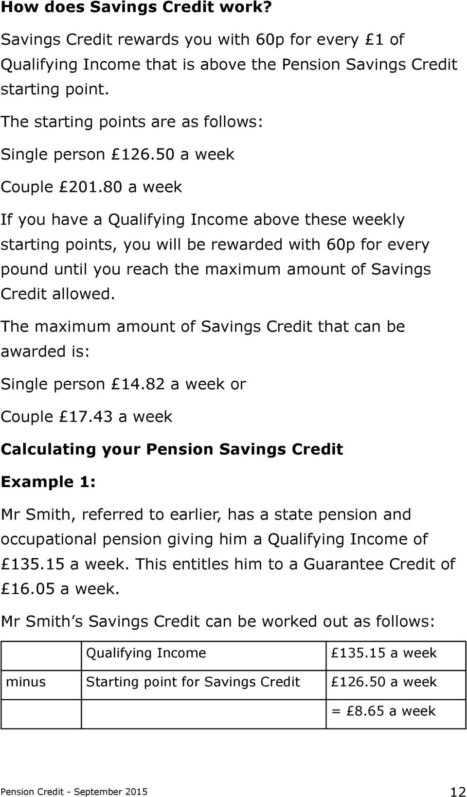 80 a week If you have a Qualifying Income above these weekly starting points, you will be rewarded with 60p for every pound until you reach the maximum amount of Savings Credit allowed.