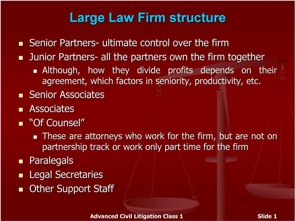 Senior Associates Associates Of Counsel These are attorneys who work for the firm, but are not on partnership track or