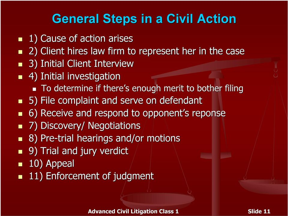 complaint and serve on defendant 6) Receive and respond to opponent s reponse 7) Discovery/ Negotiations 8) Pre trial