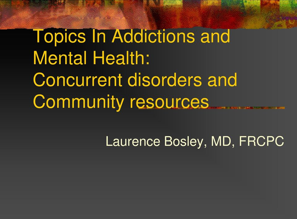 disorders and Community