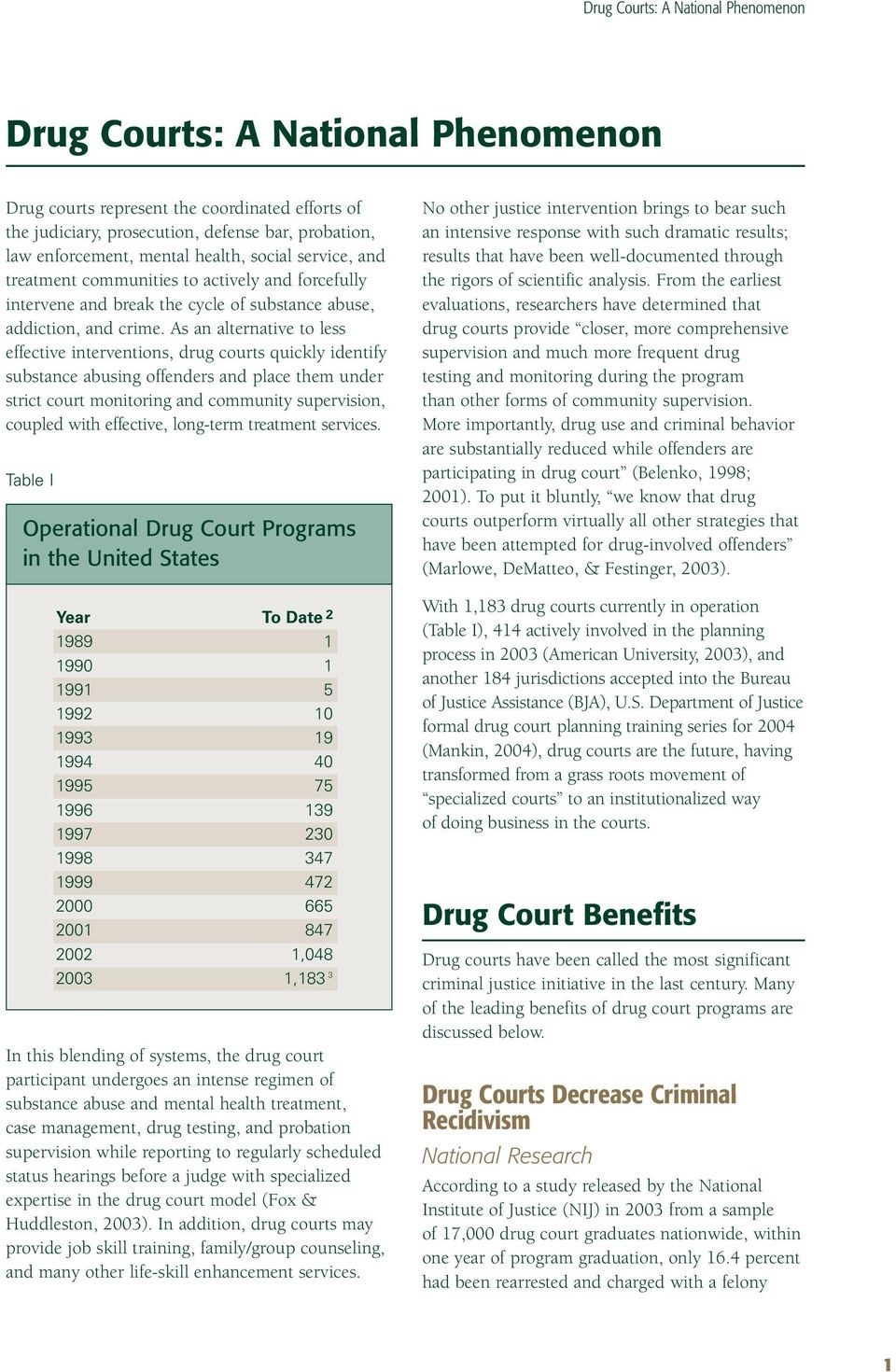 As an alternative to less effective interventions, drug courts quickly identify substance abusing offenders and place them under strict court monitoring and community supervision, coupled with
