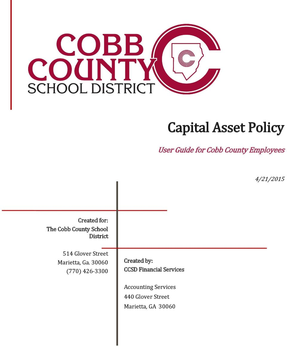 Ga. 30060 (770) 426-3300 Created by: CCSD Financial
