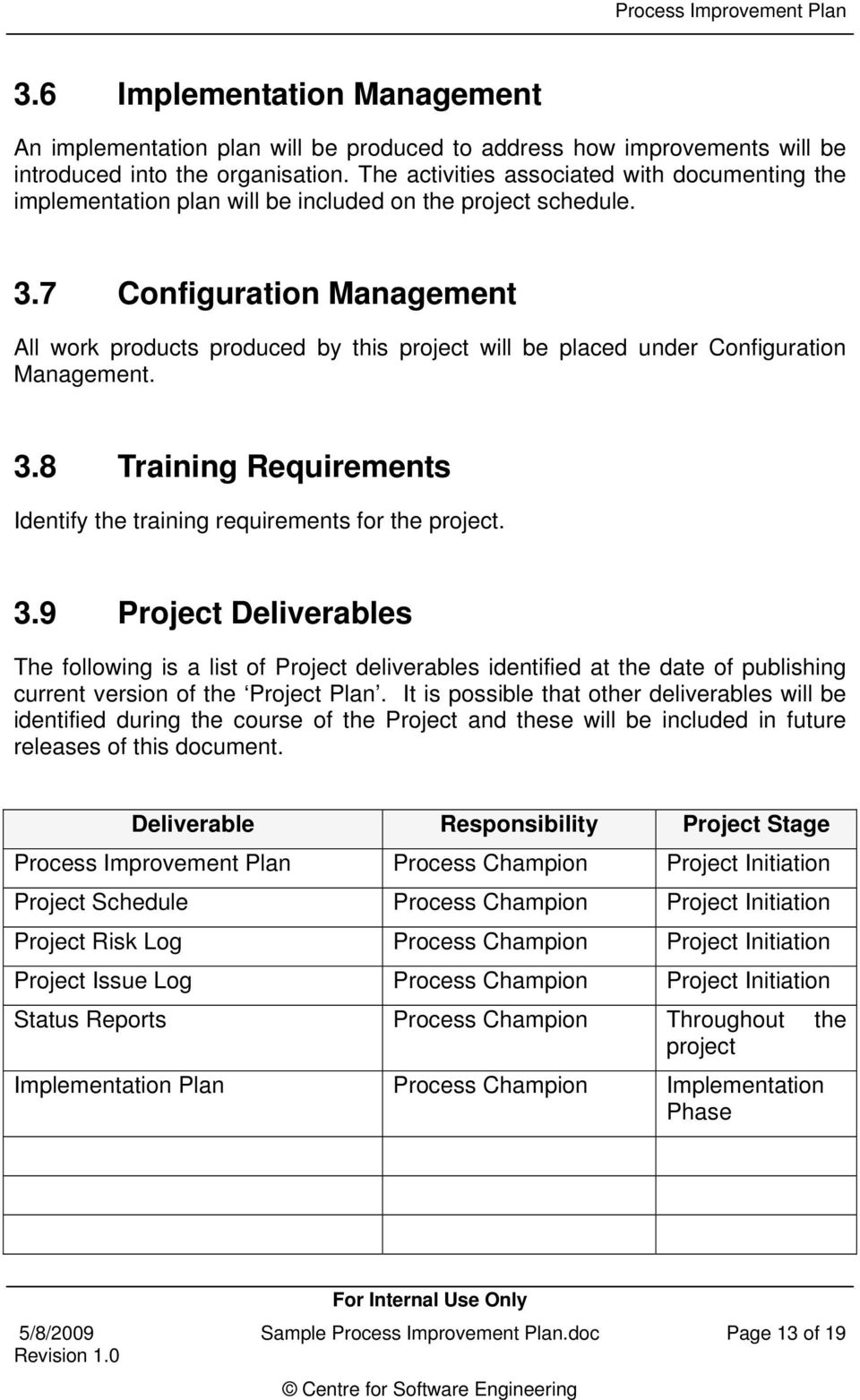 7 Configuration Management All work products produced by this project will be placed under Configuration Management. 3.