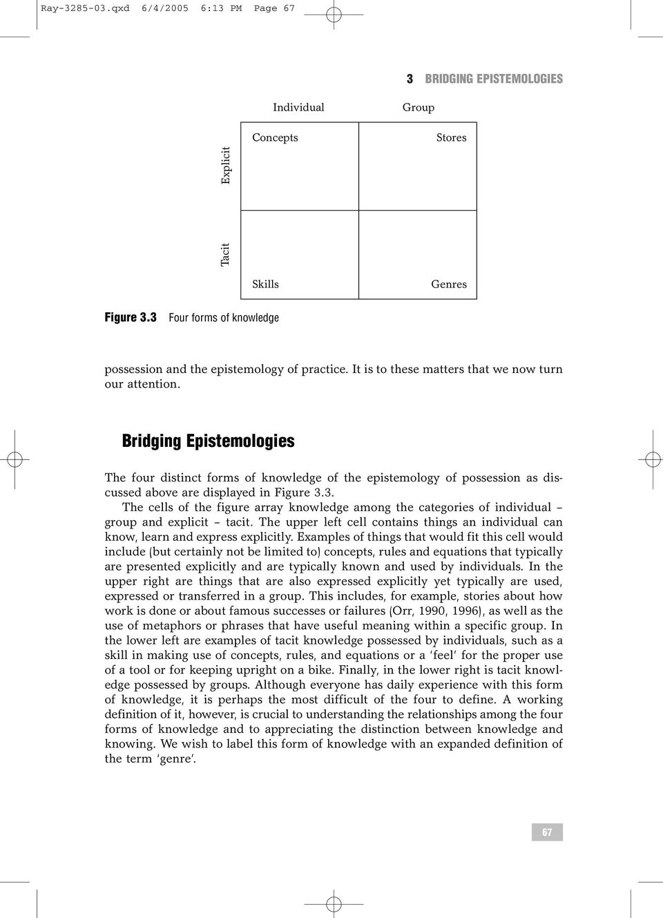 Bridging Epistemologies The four distinct forms of knowledge of the epistemology of possession as discussed above are displayed in Figure 3.