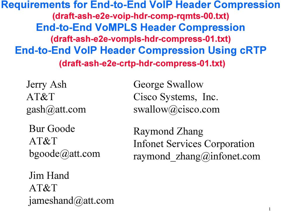 txt) End-to-End VoIP Header Compression Using crtp (draft-ash-e2e-crtp-hdr-compress-01.txt) Jerry Ash AT&T gash@att.