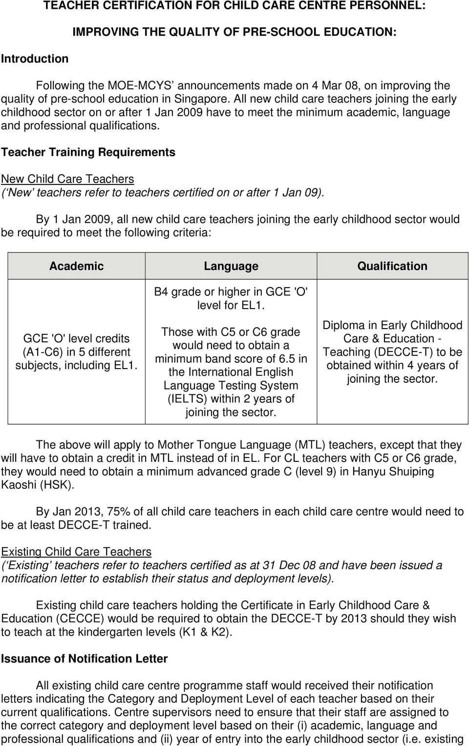 Teacher Training Requirements New Child Care Teachers ( New teachers refer to teachers certified on or after 1 Jan 09).