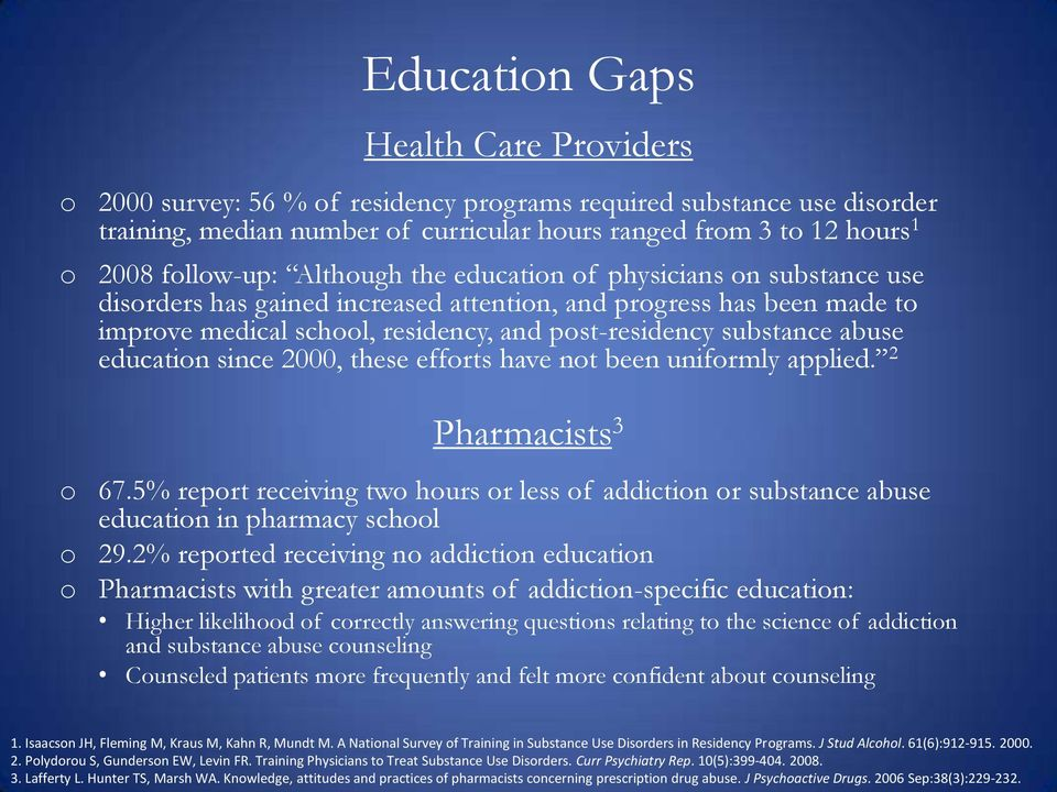 substance abuse education since 2000, these efforts have not been uniformly applied. 2 Pharmacists 3 o 67.