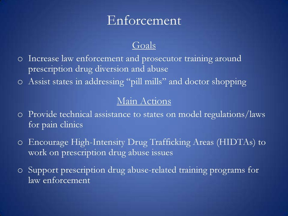 to states on model regulations/laws for pain clinics o Encourage High-Intensity Drug Trafficking Areas (HIDTAs)