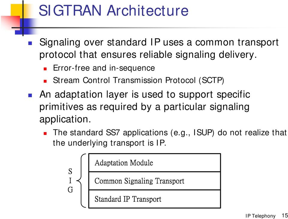Error-free and in-sequence Stream Control Transmission Protocol (SCTP) An adaptation layer is used