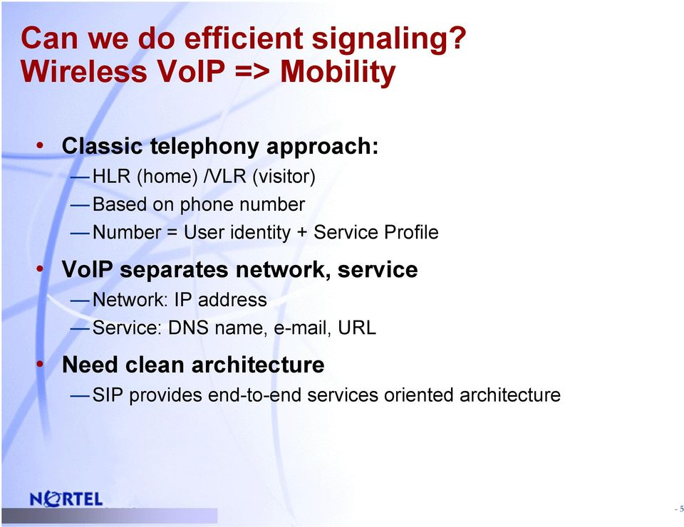 Based on phone number Number = User identity + Service Profile VoIP separates