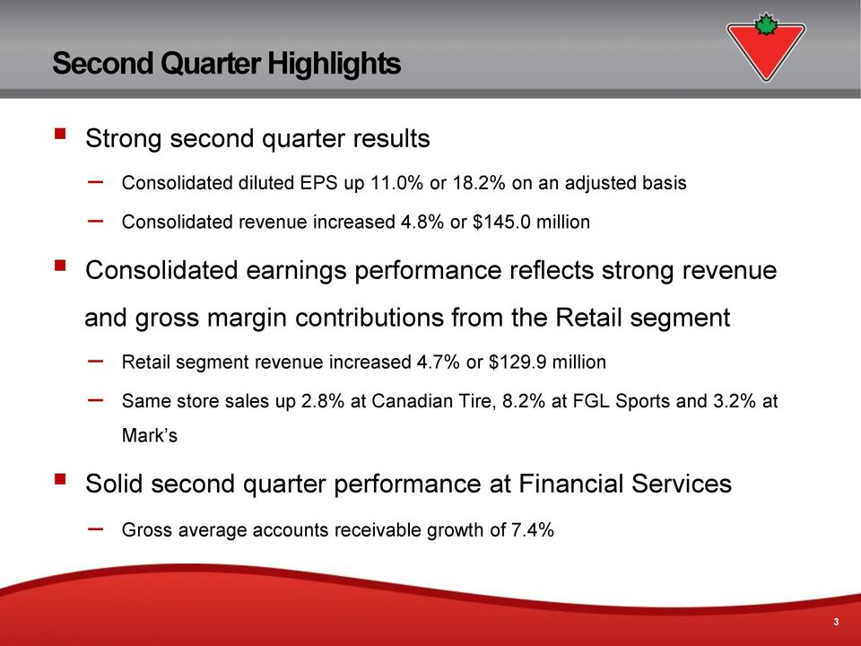 0 million Consolidated earnings performance reflects strong revenue and gross margin contributions from the Retail segment Retail