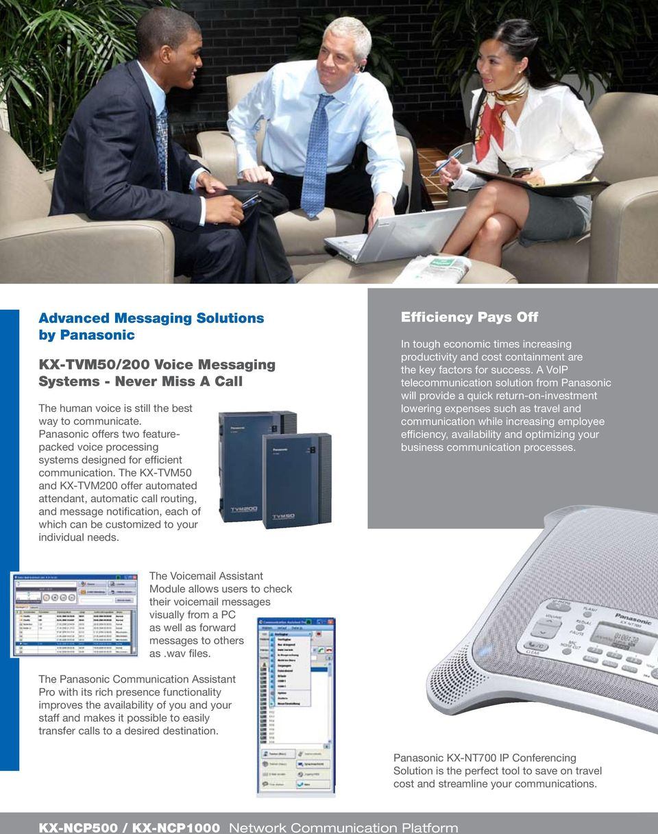 The KX-TVM50 and KX-TVM200 offer automated attendant, automatic call routing, and message notification, each of which can be customized to your individual needs.