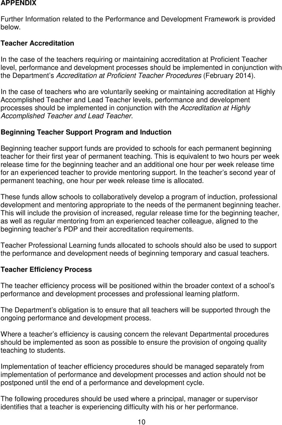 the Department s Accreditation at Proficient Teacher Procedures (February 2014).