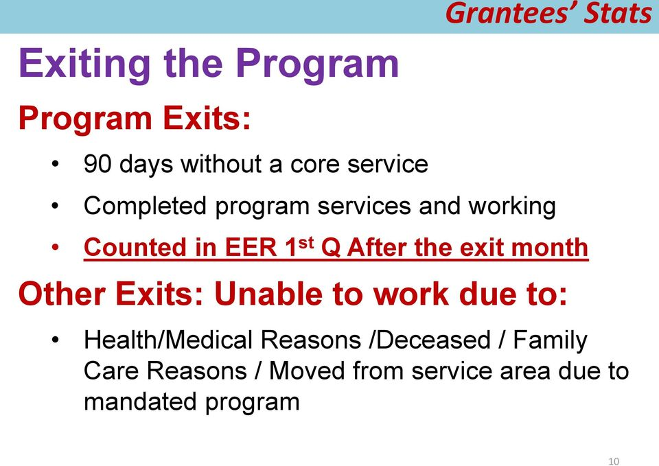the exit month Other Exits: Unable to work due to: Health/Medical Reasons