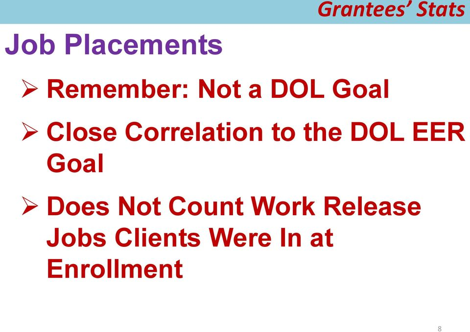 DOL EER Goal Does Not Count Work