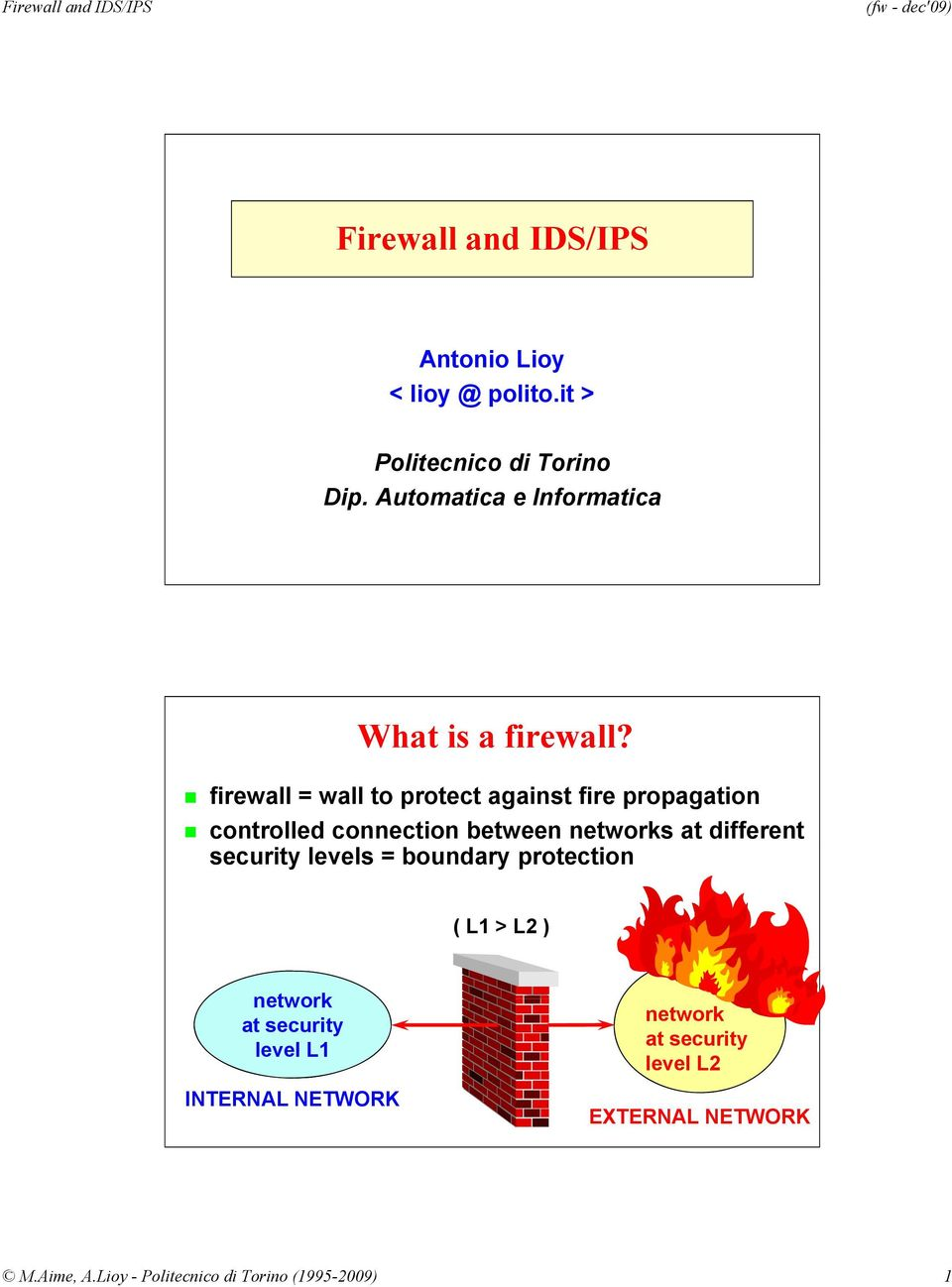 firewall = wall to protect against fire propagation controlled connection between s at different