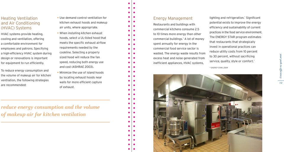 To reduce energy consumption and the volume of makeup air for kitchen ventilation, the following strategies are recommended: Use demand control ventilation for kitchen exhaust hoods and makeup air