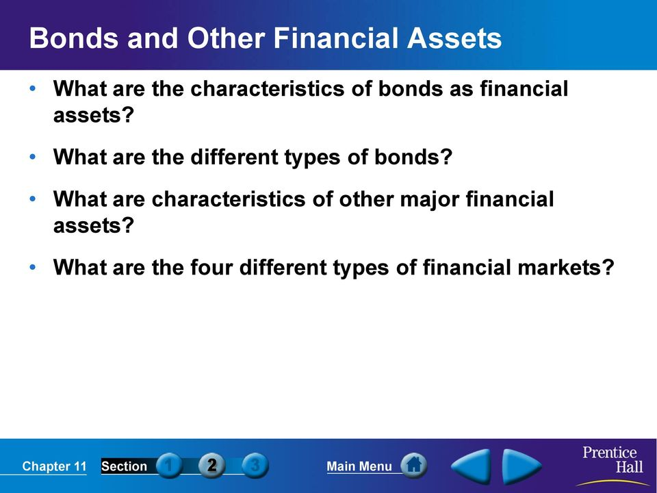 What are the different types of bonds?