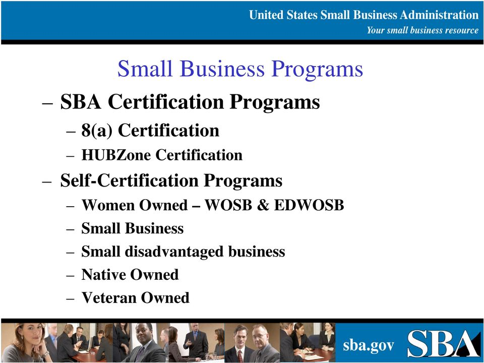 Sba Programs And Government Contracting Selling To The Federal