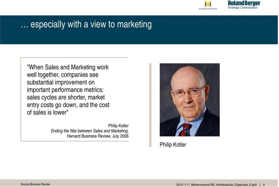 "market entry costs go down, and the cost of sales is lower"" Philip Kotler Ending the War"
