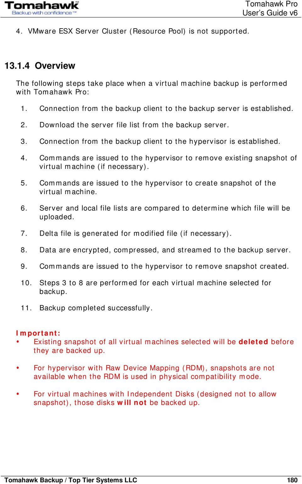 4. Commands are issued to the hypervisor to remove existing snapshot of virtual machine (if necessary). 5. Commands are issued to the hypervisor to create snapshot of the virtual machine. 6.
