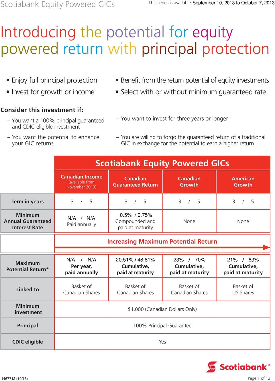 guaranteed rate You want to invest for three years or longer You are willing to forgo the guaranteed return of a traditional GIC in exchange for the potential to earn a higher return Scotiabank