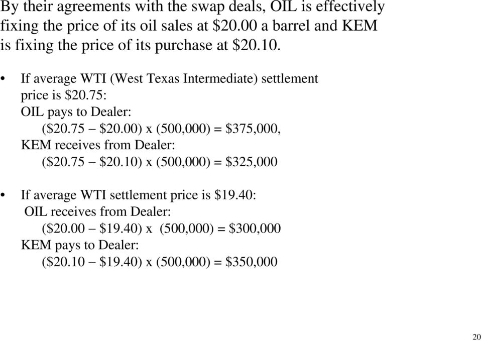 75: OIL pays to Dealer: ($20.75 $20.00) x (500,000) = $375,000, KEM receives from Dealer: ($20.75 $20.10) x (500,000) = $325,000 If average WTI settlement price is $19.