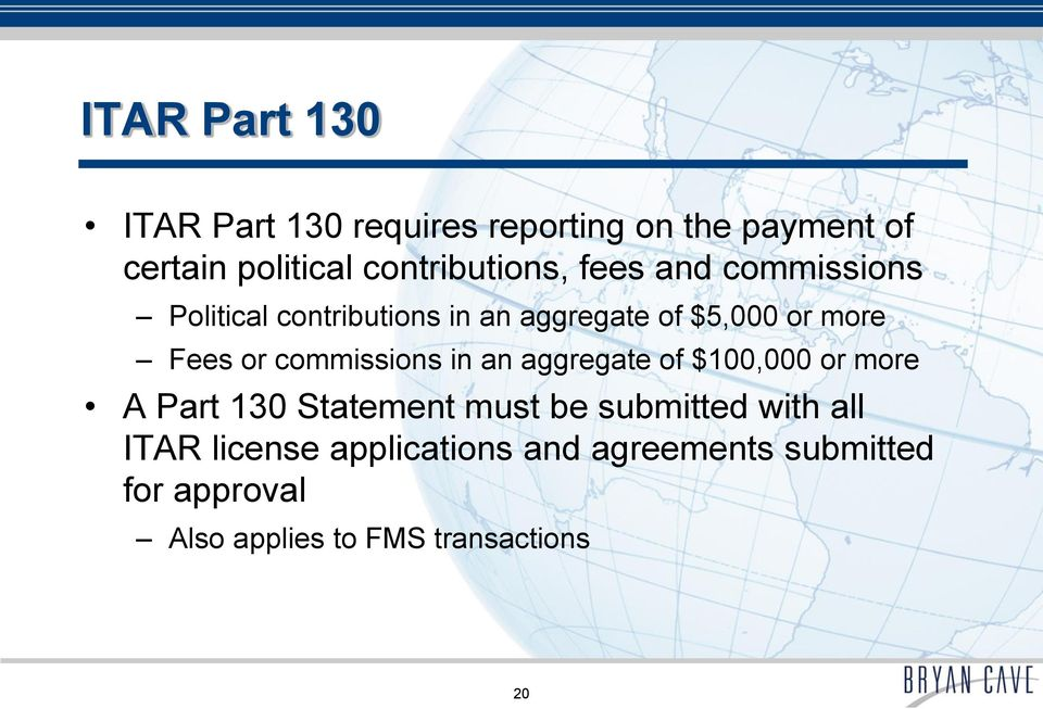 Fees or commissions in an aggregate of $100,000 or more A Part 130 Statement must be submitted