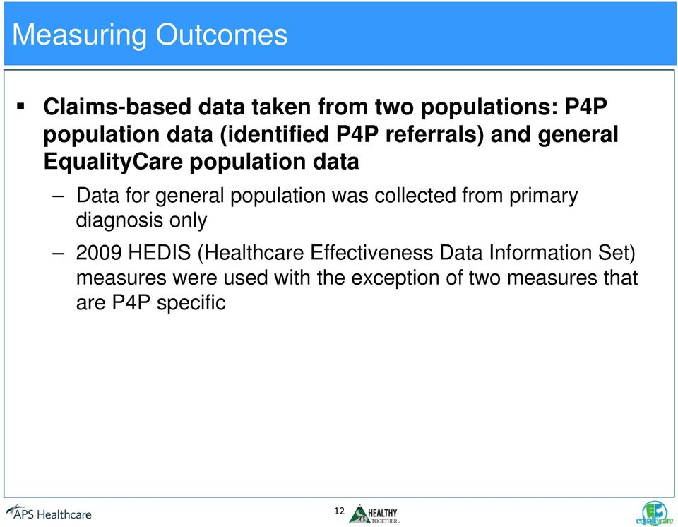 population was collected from primary diagnosis only 2009 HEDIS (Healthcare Effectiveness