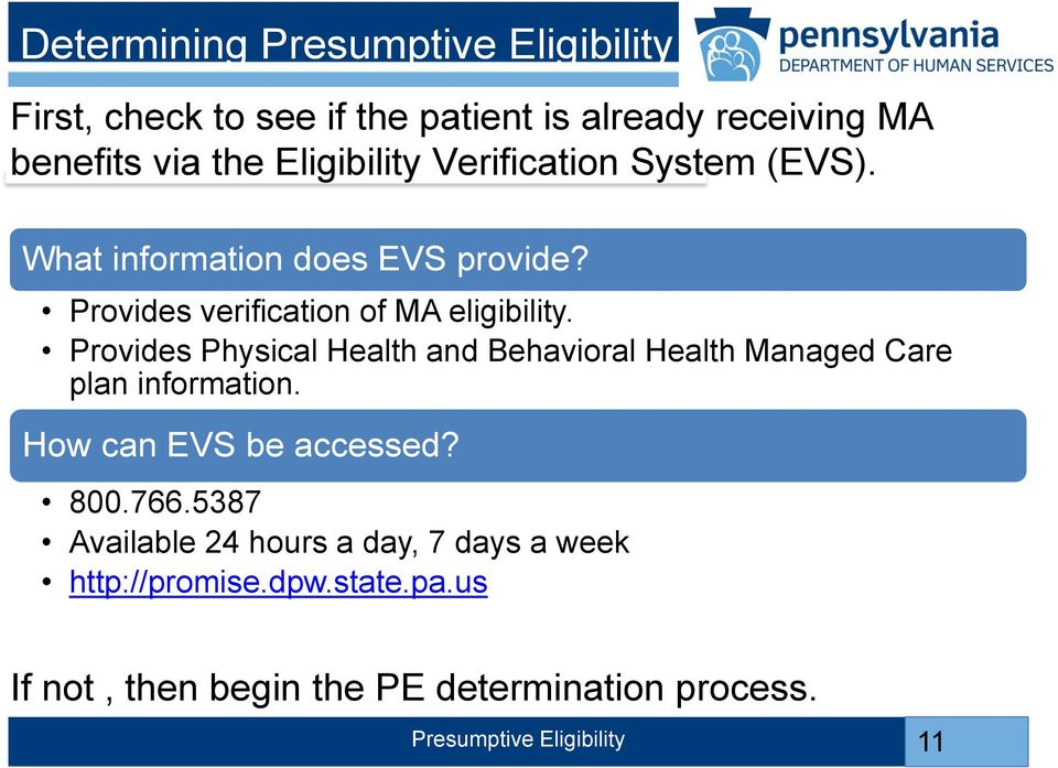 Provides Physical Health and Behavioral Health Managed Care plan information. How can EVS be accessed? 800.766.