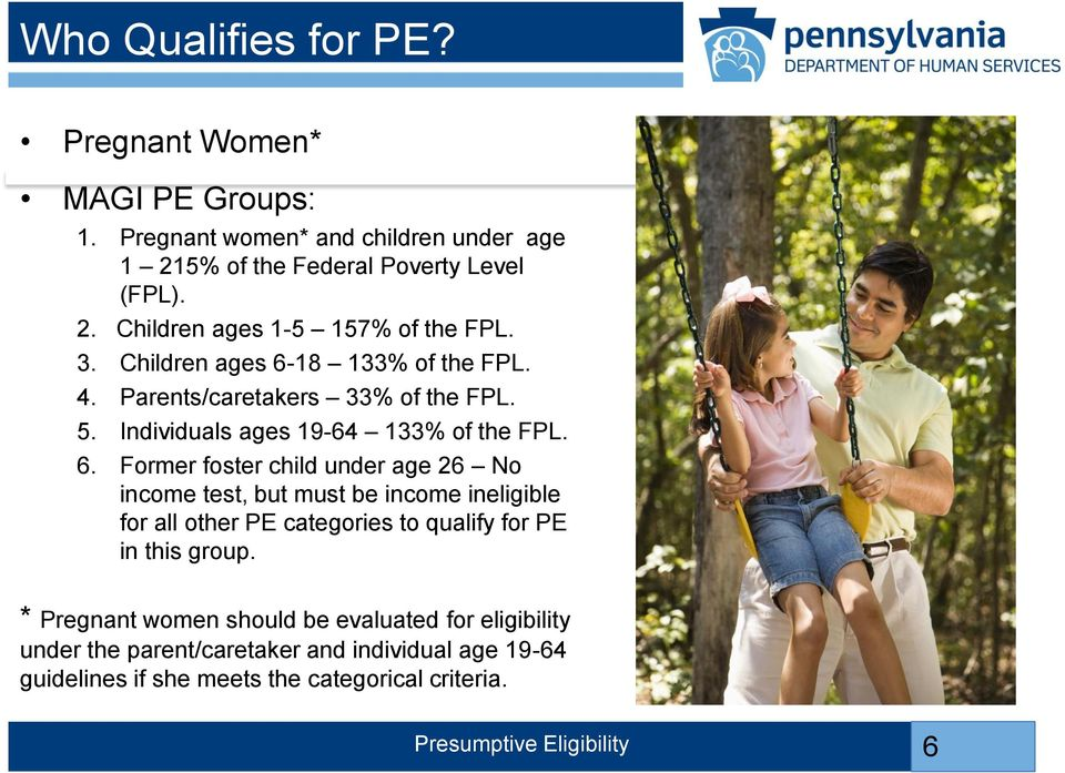 18 133% of the FPL. 4. Parents/caretakers 33% of the FPL. 5. Individuals ages 19-64 133% of the FPL. 6.