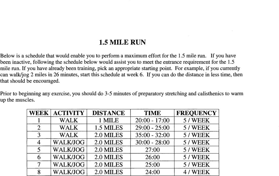 For example, if you currently can walk/jog 2 miles in 26 minutes, start this schedule at week 6. If you can do the distance in less time, then that should be encouraged.