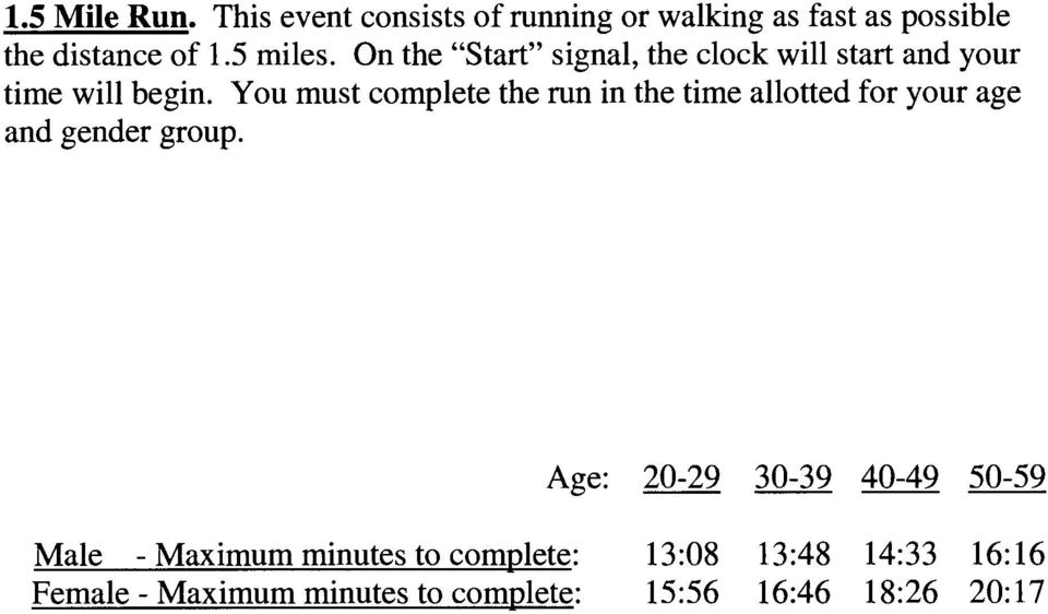 You must complete the run in the time allotted for your age and gender group.