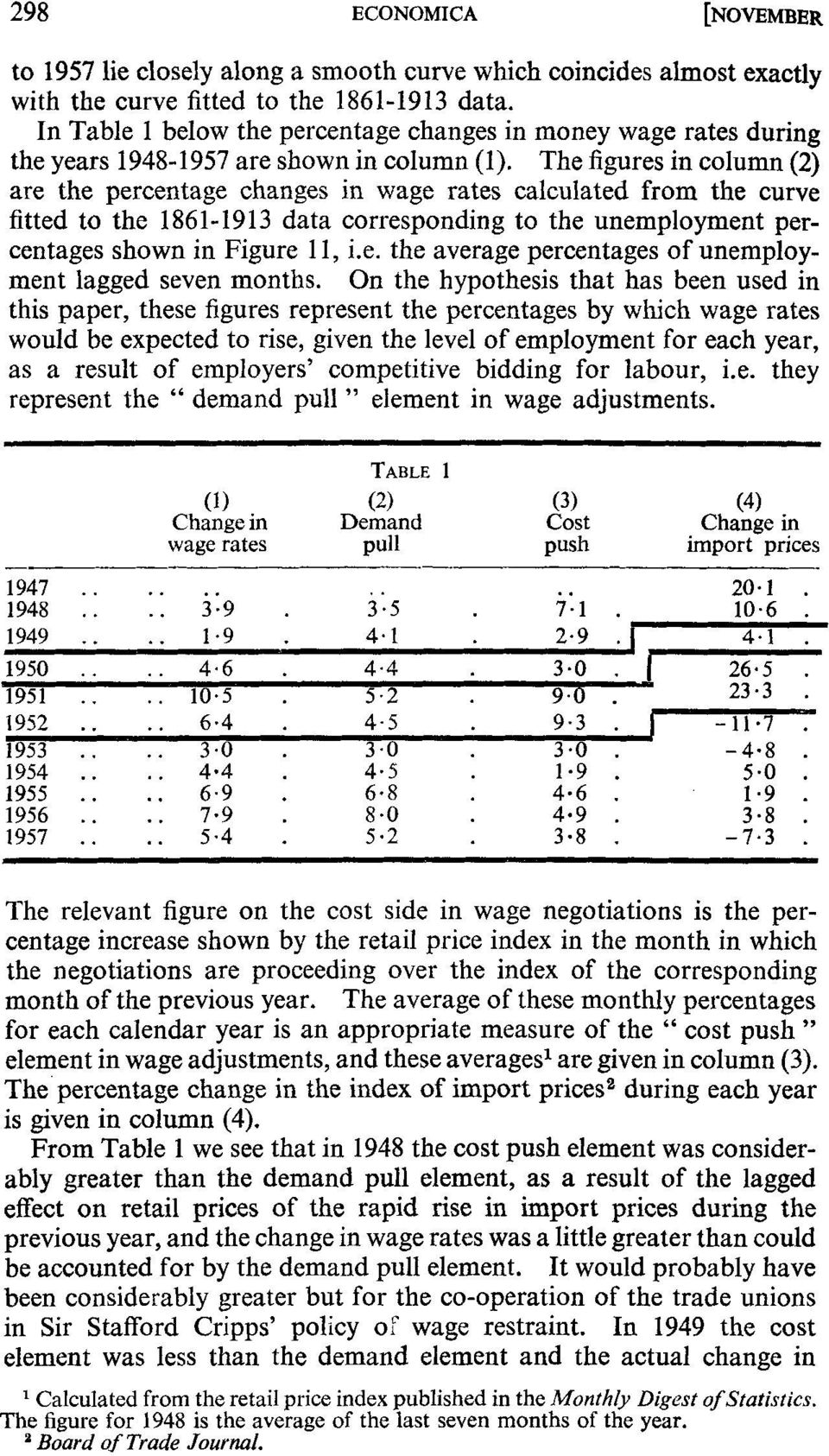The figures in column (2) are the percentage changes in wage rates calculated from the curve fitted to the 1861-1913 data corresponding to the unemployment percentages shown in Figure 11, i.e. the average percentages of unemployment lagged seven months.