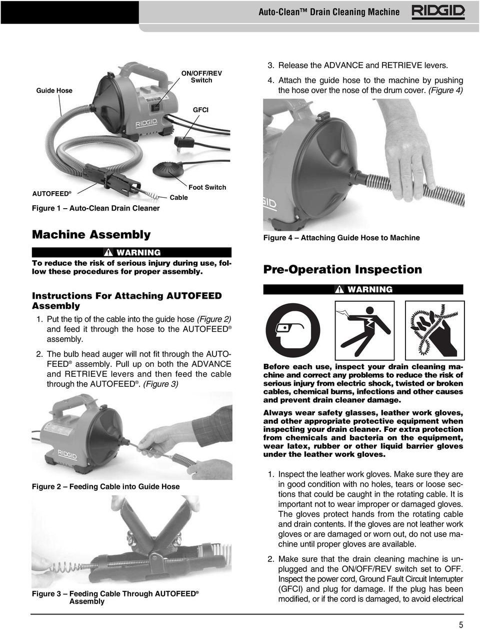 Instructions For Attaching AUTOFEED Assembly 1. Put the tip of the cable into the guide hose (Figure 2) and feed it through the hose to the AUTOFEED assembly. 2. The bulb head auger will not fit through the AUTO- FEED assembly.