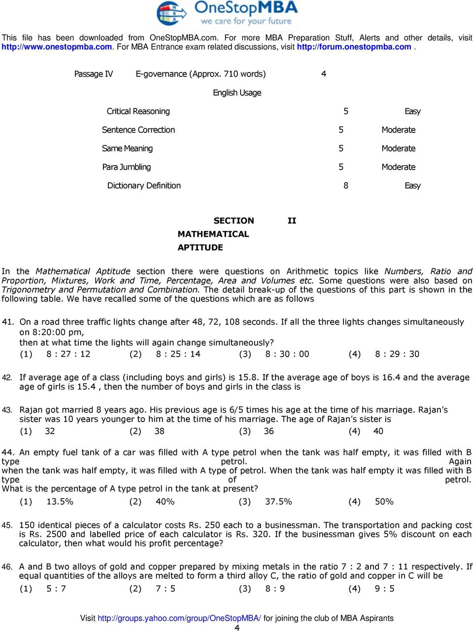 ratio and proportion aptitude questions with answers pdf