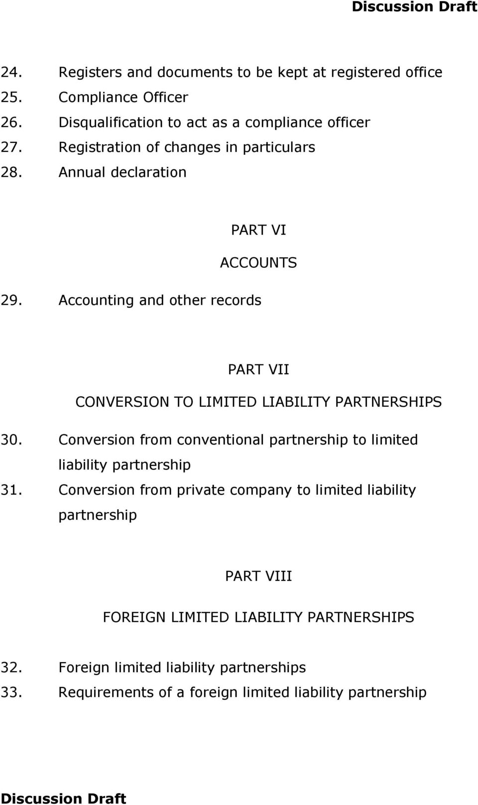 Accounting and other records PART VII CONVERSION TO LIMITED LIABILITY PARTNERSHIPS 30.