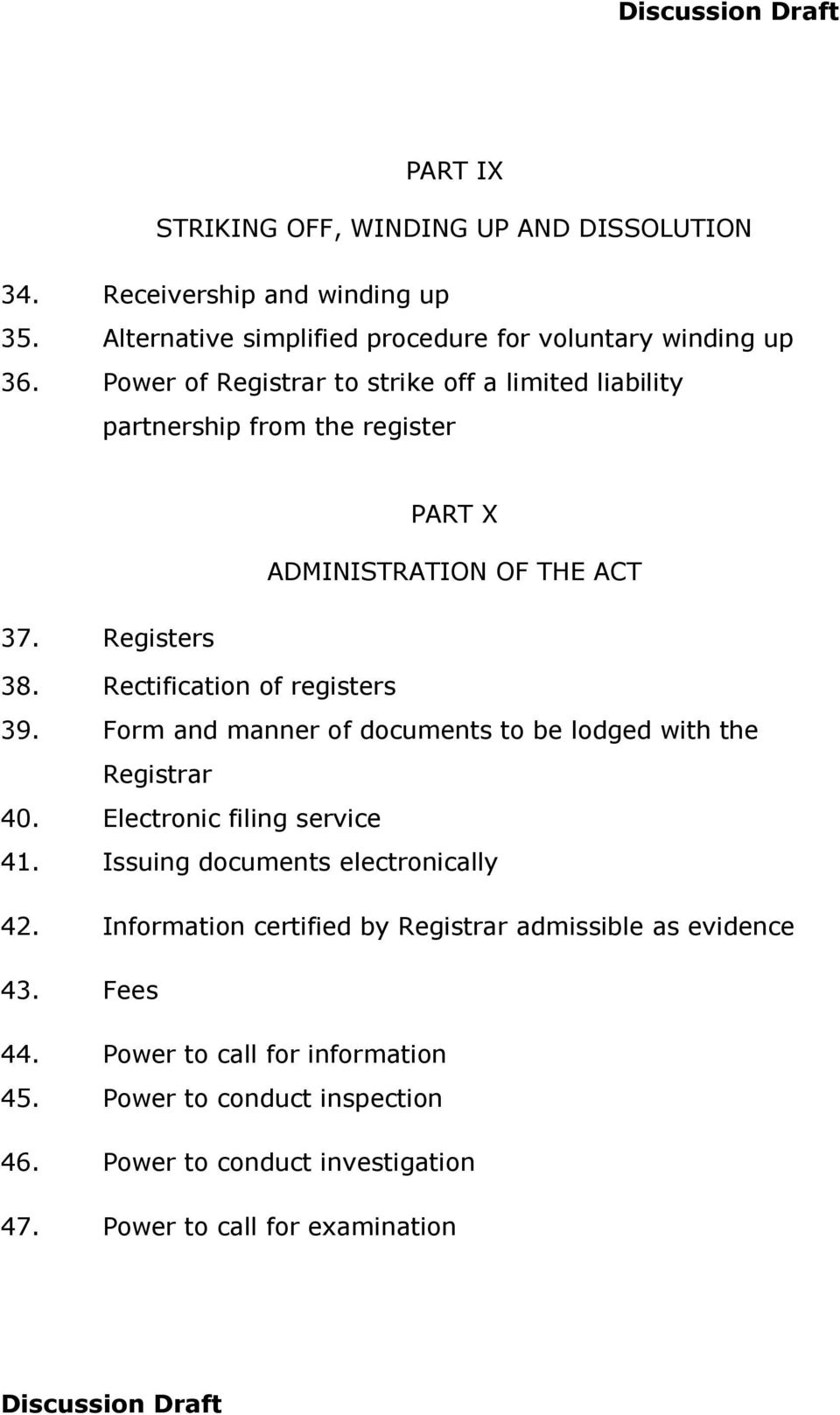 Rectification of registers 39. Form and manner of documents to be lodged with the Registrar 40. Electronic filing service 41. Issuing documents electronically 42.