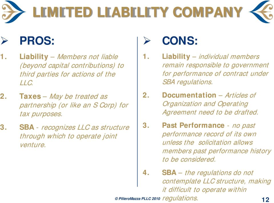 Liability individual members remain responsible to government for performance of contract under SBA regulations. 2.