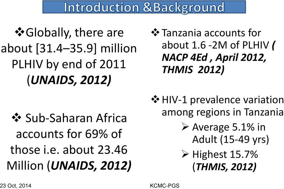e. about 23.46 Million (UNAIDS, 2012) 23 Oct, 2014 Tanzania accounts for about 1.