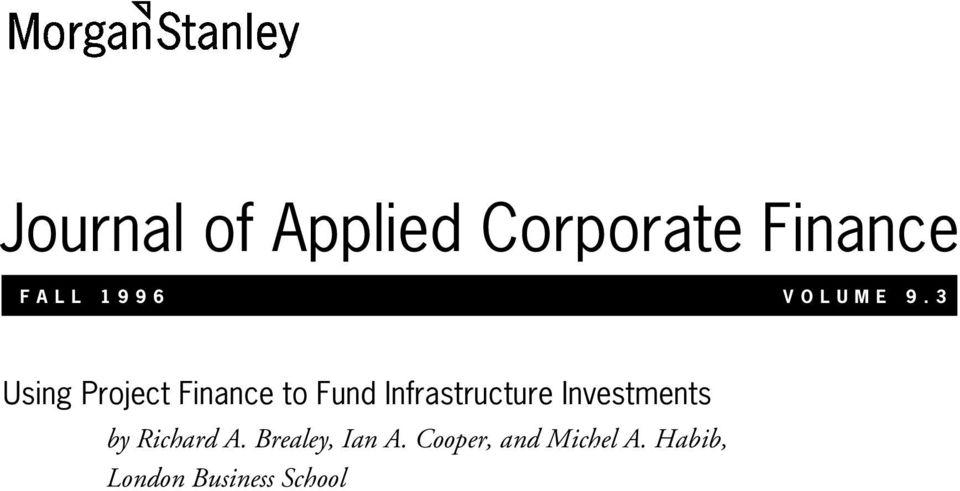 3 Using Project Finance to Fund Infrastructure