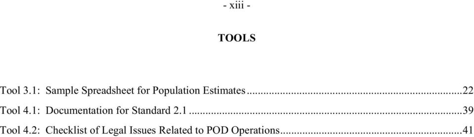 ..22 Tool 4.1: Documentation for Standard 2.1...39 Tool 4.