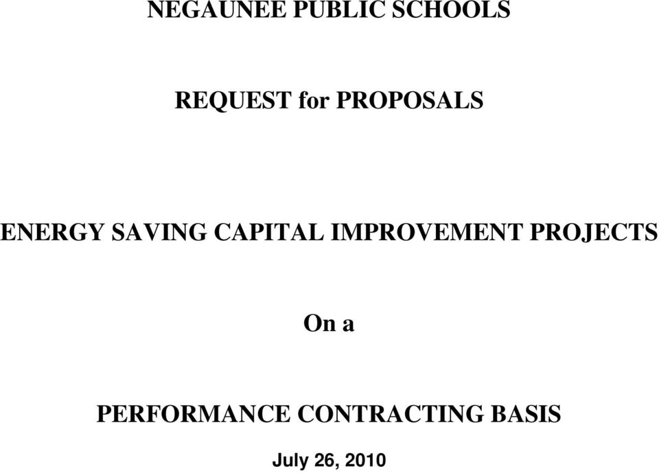 CAPITAL IMPROVEMENT PROJECTS On a