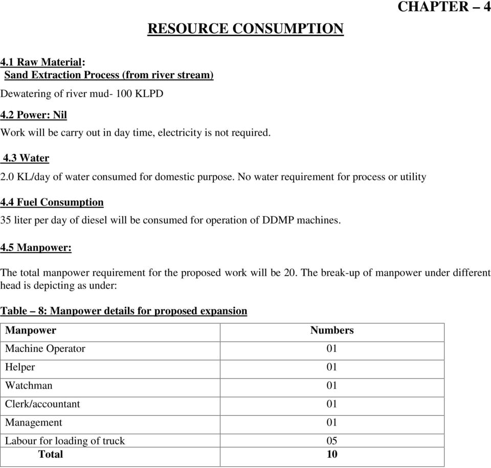 4 Fuel Consumption 35 liter per day of diesel will be consumed for operation of DDMP machines. 4.5 Manpower: The total manpower requirement for the proposed work will be 20.